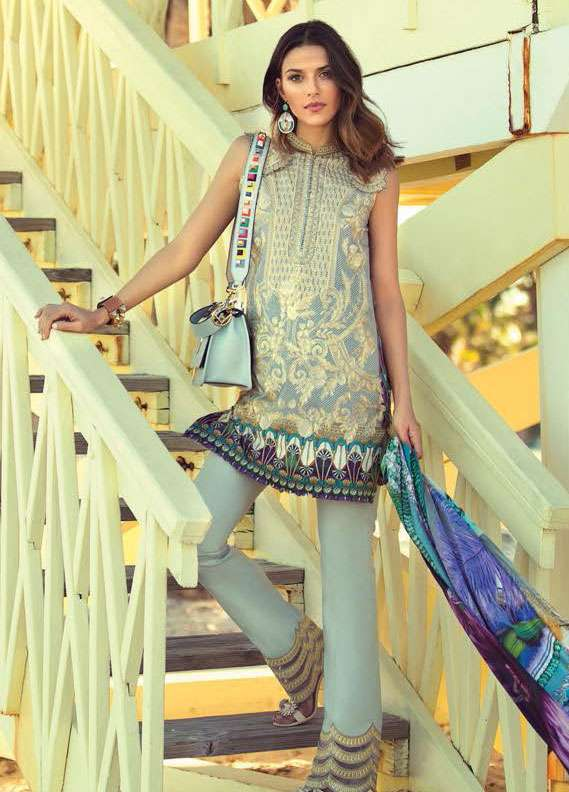 Faraz Manan Embroidered Lawn Unstitched 3 Piece Suit FM18L 12 - Spring / Summer Collection