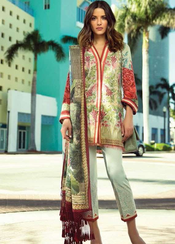 Faraz Manan Embroidered Lawn Unstitched 3 Piece Suit FM18L 14 - Spring / Summer Collection