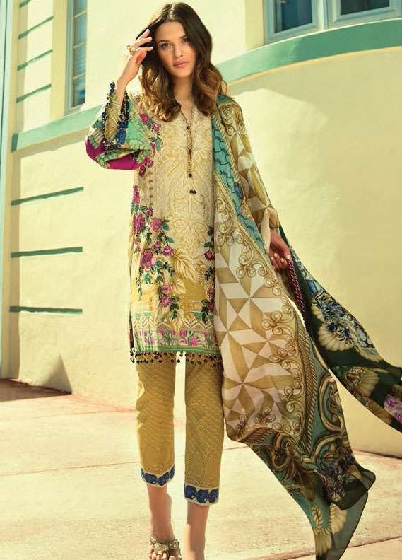 Faraz Manan Embroidered Lawn Unstitched 3 Piece Suit FM18L 16 - Spring / Summer Collection