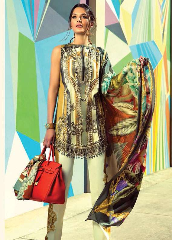 Faraz Manan Embroidered Lawn Unstitched 3 Piece Suit FM18L 21 - Spring / Summer Collection