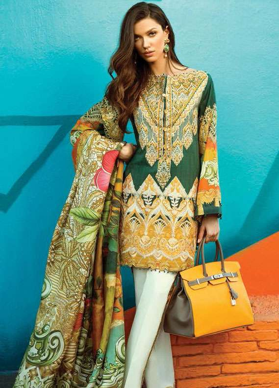Faraz Manan Embroidered Lawn Unstitched 3 Piece Suit FM18L 22 - Spring / Summer Collection