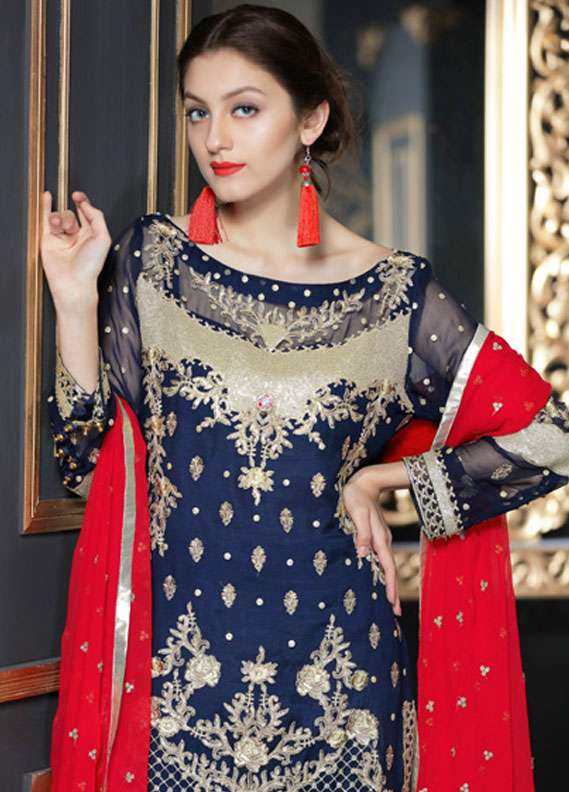 Maryum N Maria Embroidered Chiffon Unstitched 3 Piece Suit FMM18C2 02 - Formal Collection