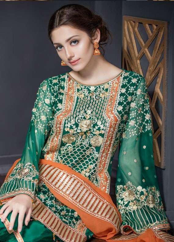 Maryum N Maria Embroidered Chiffon Unstitched 3 Piece Suit FMM18C2 05 - Formal Collection