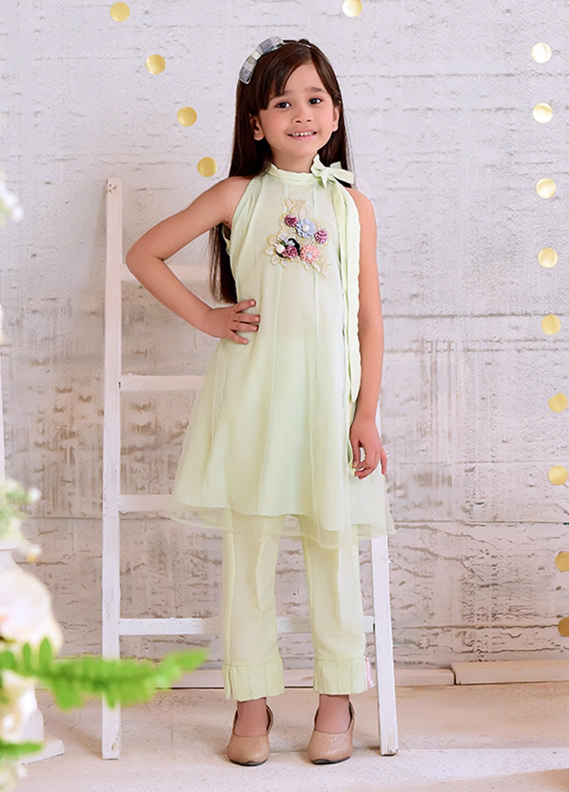 Ochre Chiffon Formal 2 Piece Suit for Girls -  OFW 253 Mint Green