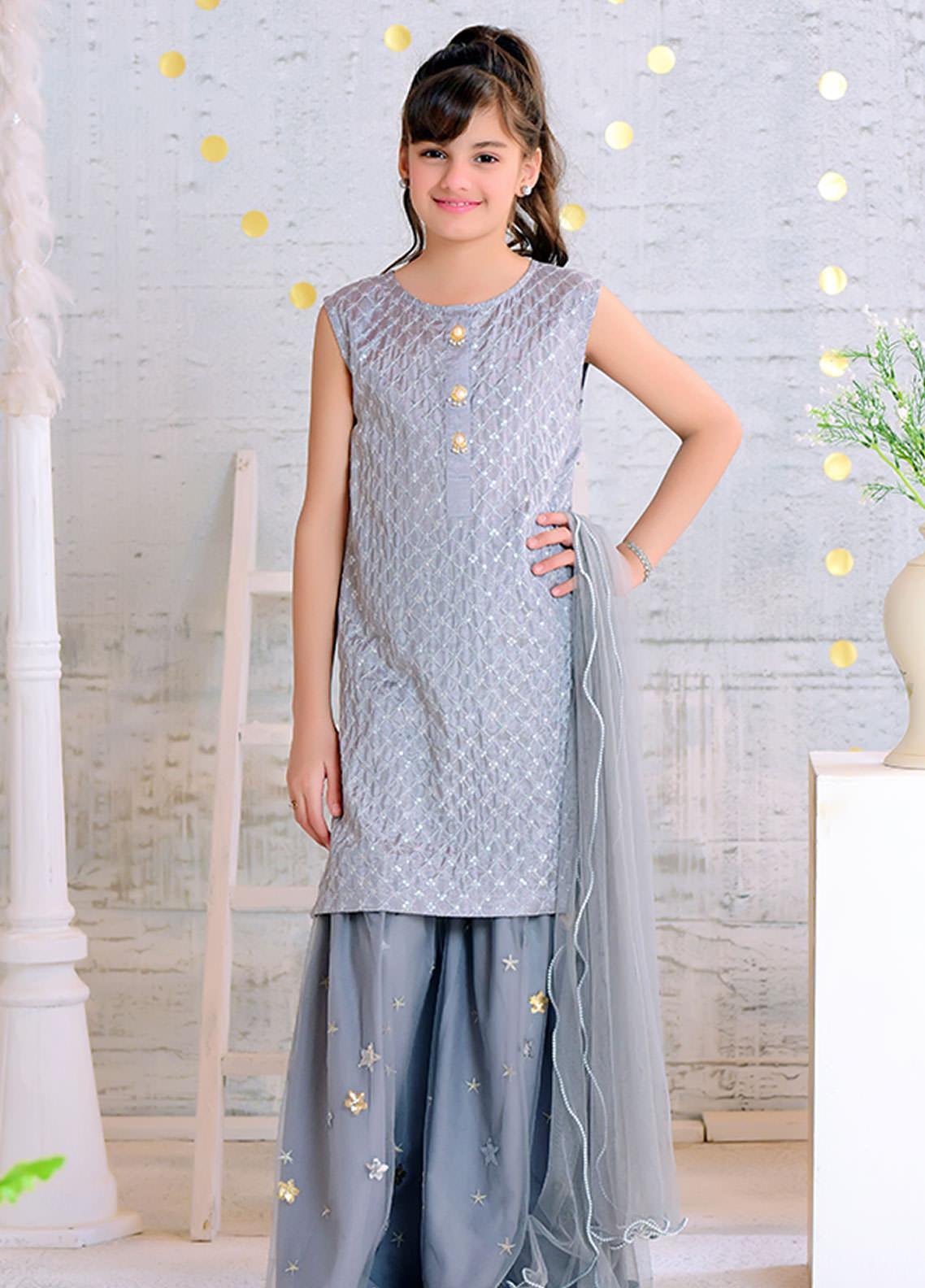 Ochre Cotton Silk Formal 3 Piece Suit for Girls -  OFW 275 Grey