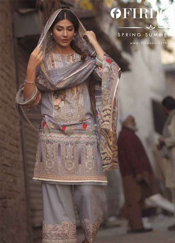 Firdous Fashion Embroidered Lawn Unstitched 3 Piece Suit FR18L 01 - Spring / Summer Collection