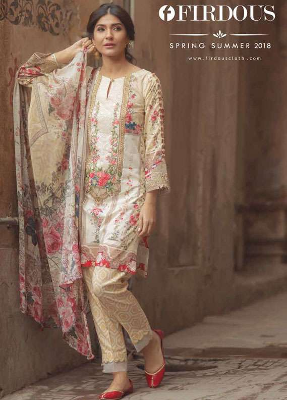 Firdous Fashion Embroidered Lawn Unstitched 3 Piece Suit FR18L 03 - Spring / Summer Collection