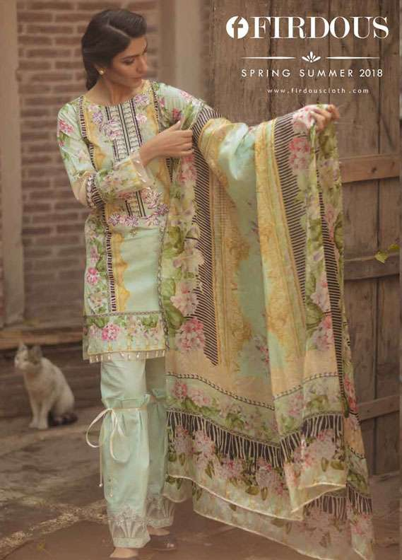 Firdous Fashion Embroidered Lawn Unstitched 3 Piece Suit FR18L 04 - Spring / Summer Collection