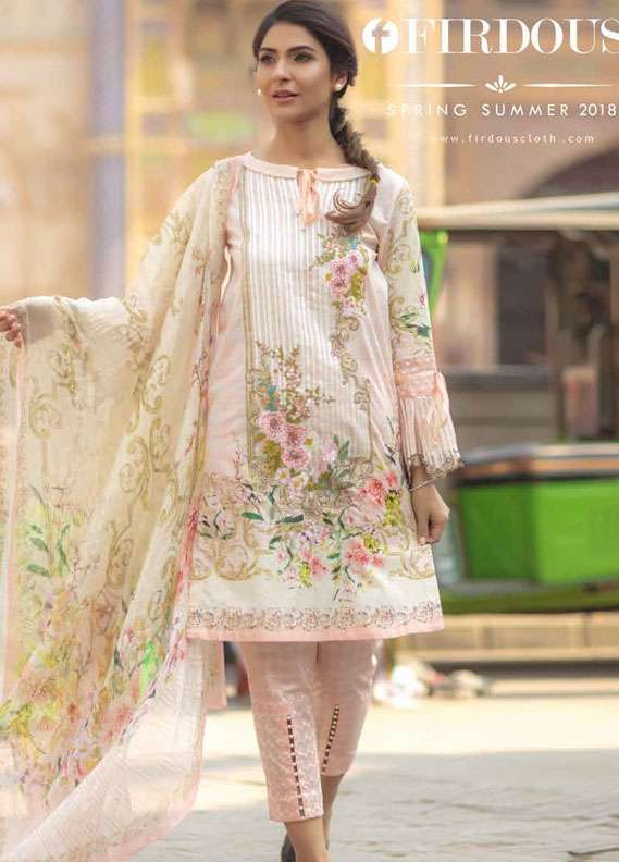 Firdous Fashion Embroidered Lawn Unstitched 3 Piece Suit FR18L 08 - Spring / Summer Collection
