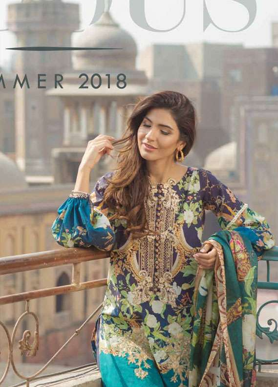 Firdous Fashion Embroidered Lawn Unstitched 3 Piece Suit FR18L 09 - Spring / Summer Collection