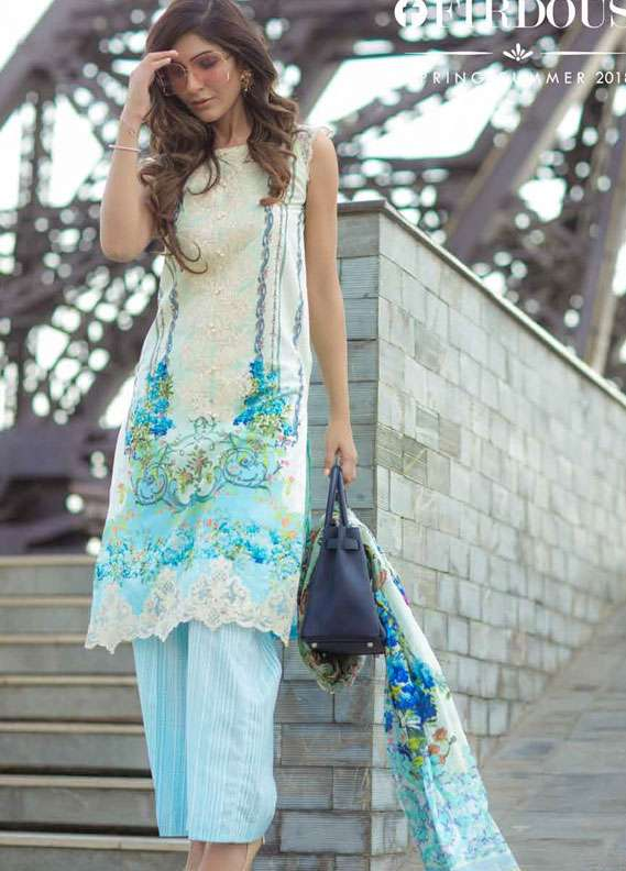 Firdous Fashion Embroidered Lawn Unstitched 3 Piece Suit FR18L 12 - Spring / Summer Collection