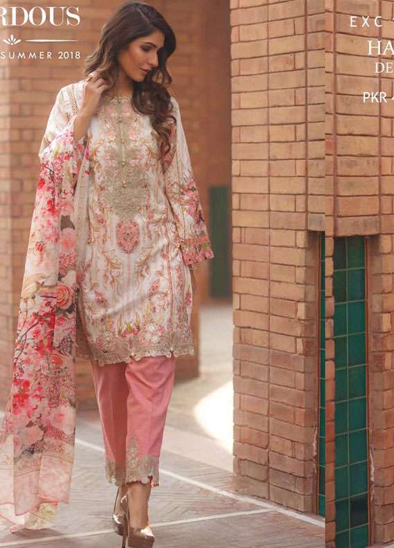 Firdous Fashion Embroidered Lawn Unstitched 3 Piece Suit FR18L 17 - Spring / Summer Collection