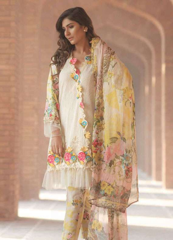 Firdous Fashion Embroidered Lawn Unstitched 3 Piece Suit FR18L 18 - Spring / Summer Collection