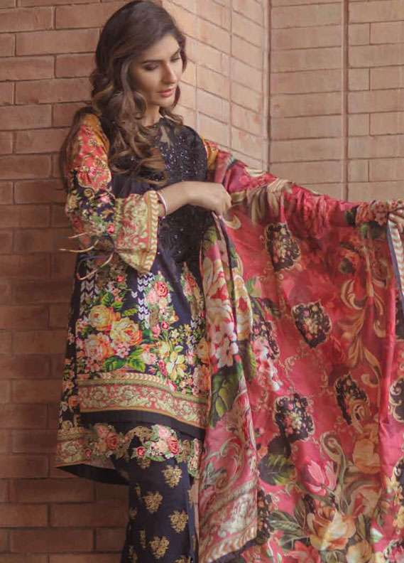 Firdous Fashion Embroidered Lawn Unstitched 3 Piece Suit FR18L 19 - Spring / Summer Collection