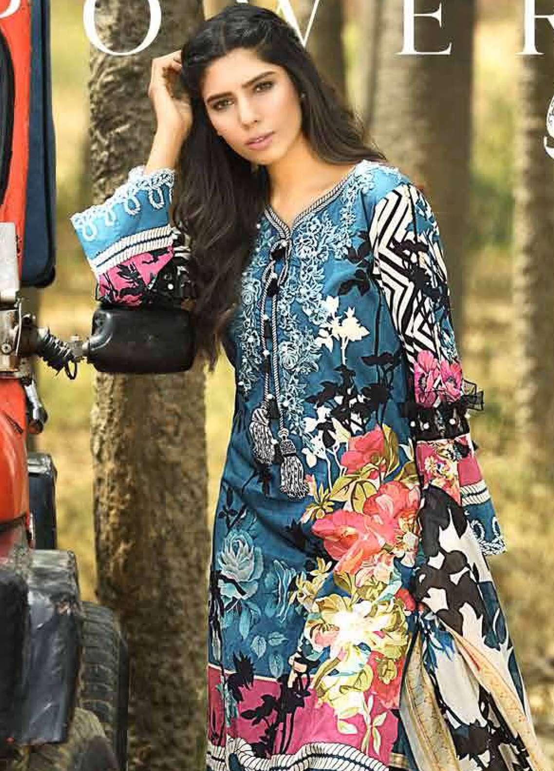 Firdous Fashion Embroidered Lawn Unstitched 3 Piece Suit FRC18E 01 - Eid Collection