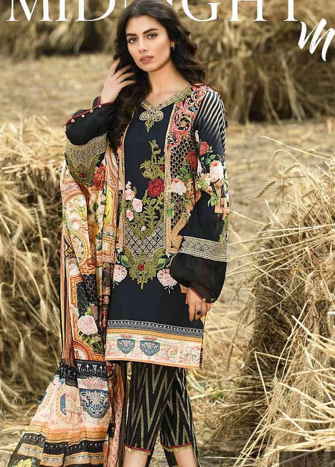 Firdous Fashion Embroidered Lawn Unstitched 3 Piece Suit FRC18E 02 - Eid Collection
