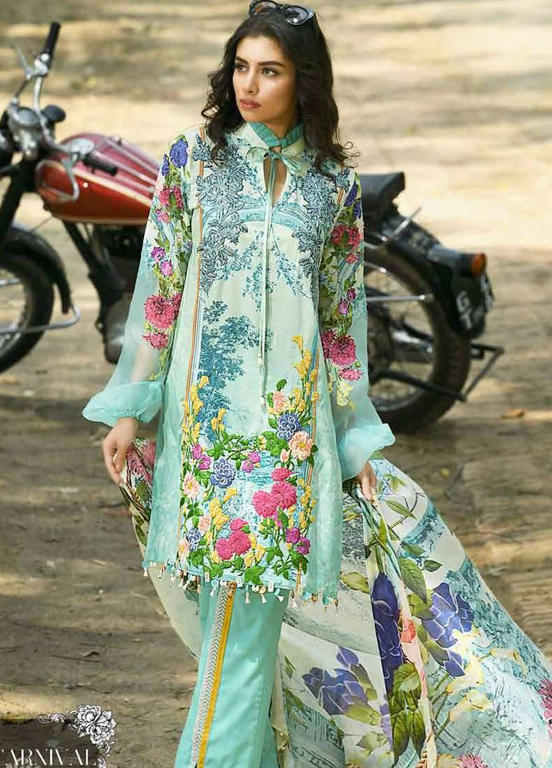 Firdous Fashion Embroidered Lawn Unstitched 3 Piece Suit FRC18E 06 - Eid Collection
