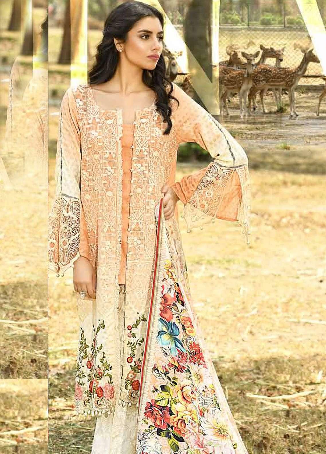 Firdous Fashion Embroidered Lawn Unstitched 3 Piece Suit FRC18E 14 - Eid Collection