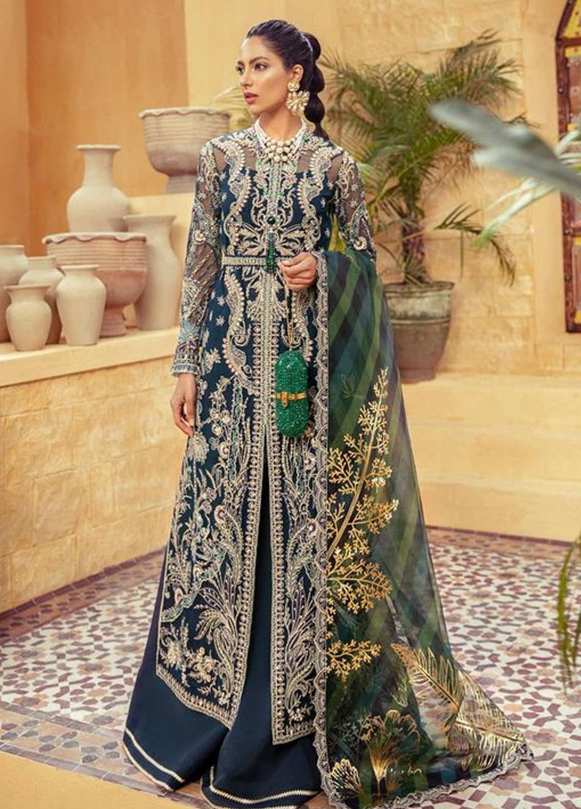 Freeshia by Suffuse Embroidered Net Unstitched 3 Piece Suit FRS20WD Royal Twilight - Wedding Collection
