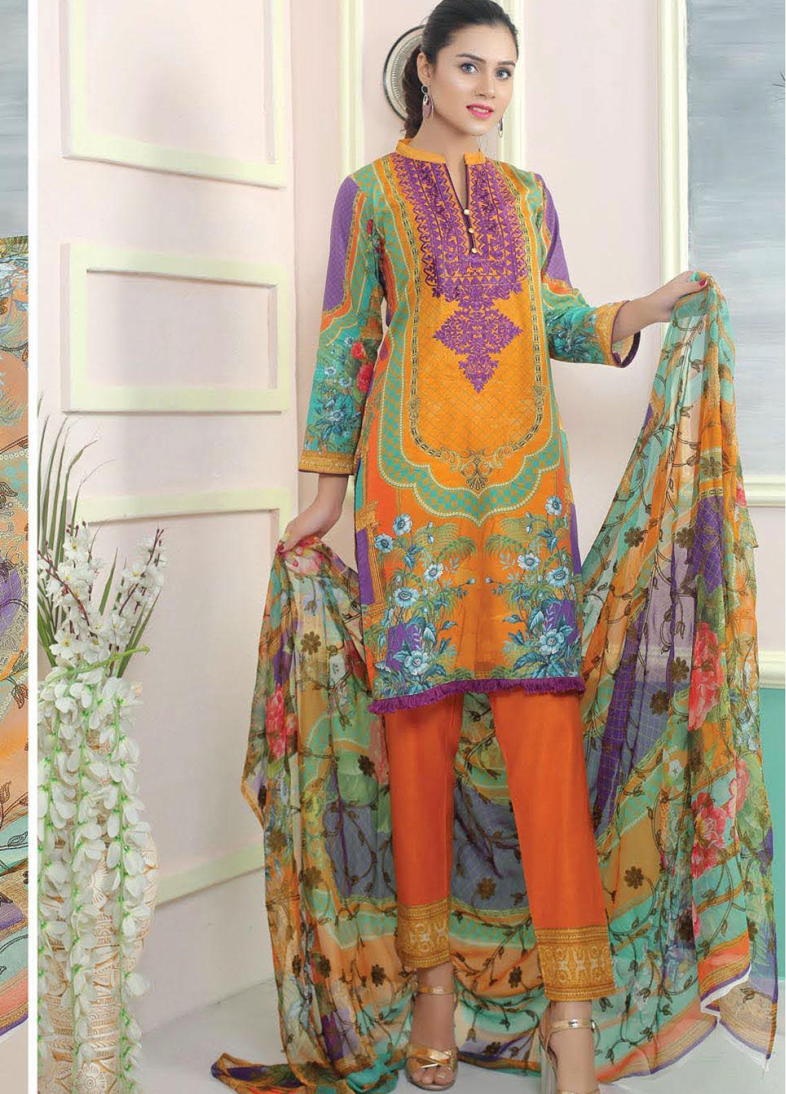 King Fabrics Embroidered Lawn Unstitched 3 Piece Suit KF20FL 10 - Summer Collction