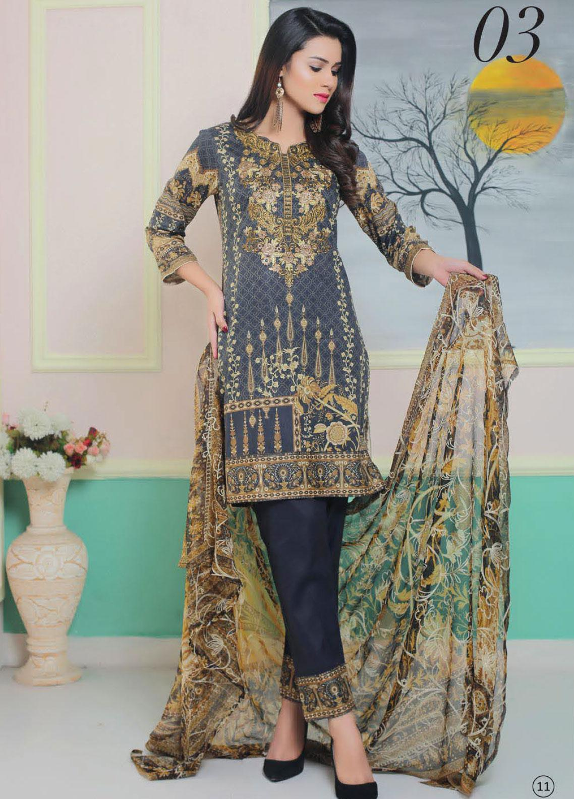King Fabrics Embroidered Lawn Unstitched 3 Piece Suit KF20FL 3 - Summer Collction