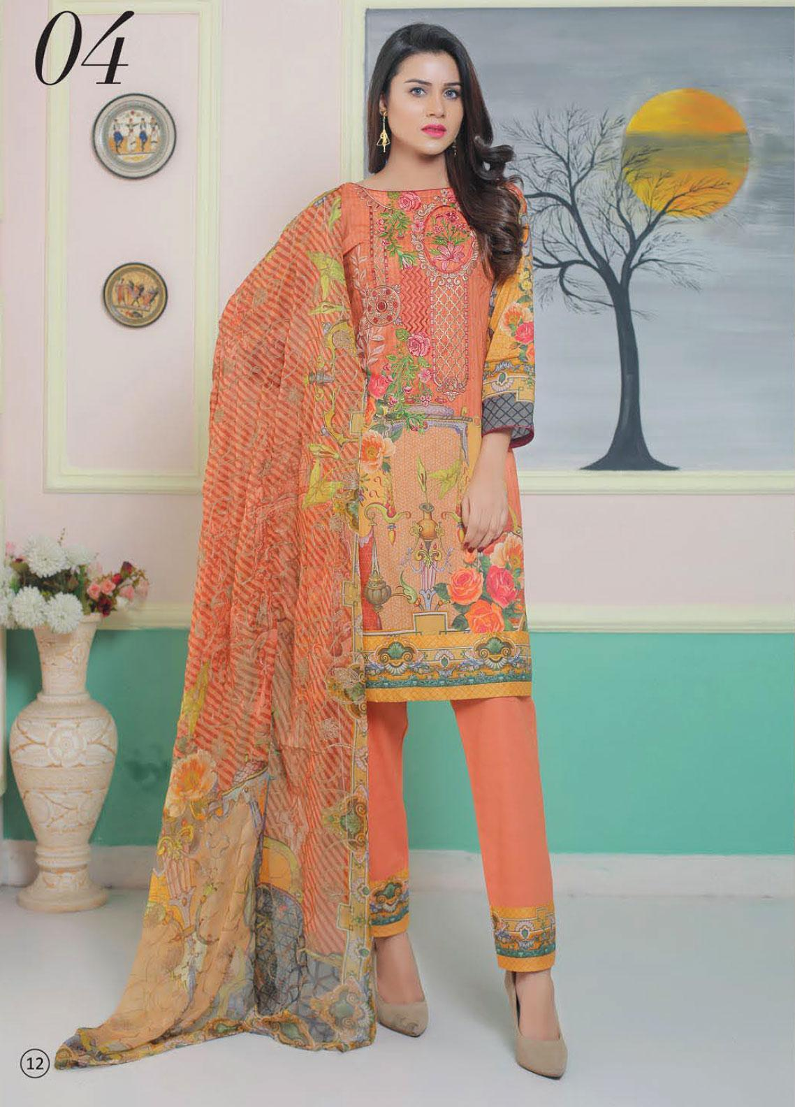 King Fabrics Embroidered Lawn Unstitched 3 Piece Suit KF20FL 4 - Summer Collction