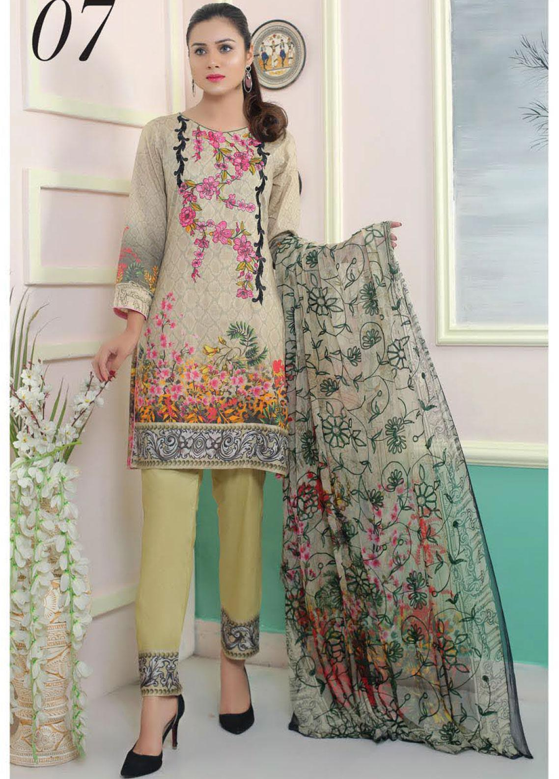 King Fabrics Embroidered Lawn Unstitched 3 Piece Suit KF20FL 7 - Summer Collction