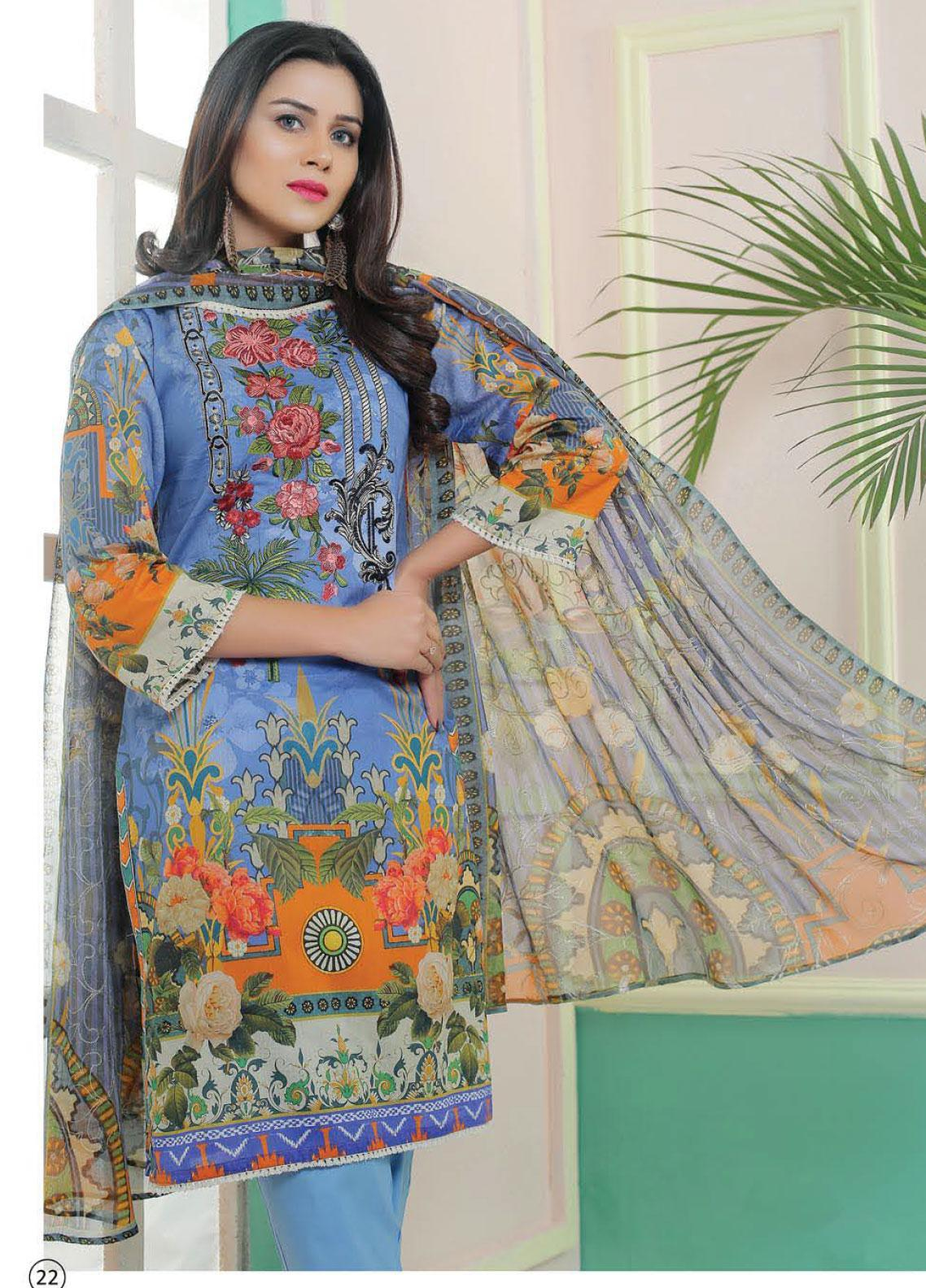 King Fabrics Embroidered Lawn Unstitched 3 Piece Suit KF20FL 8 - Summer Collction