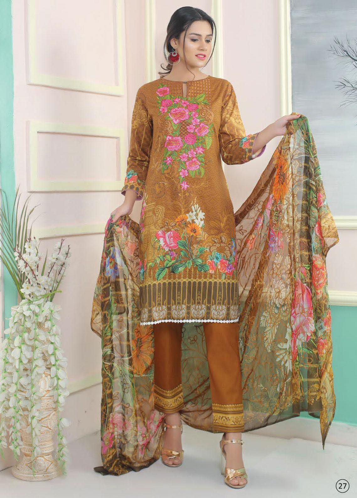 King Fabrics Embroidered Lawn Unstitched 3 Piece Suit KF20FL 9 - Summer Collction