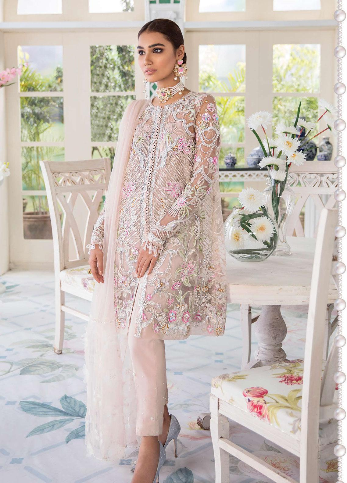 Freesia Suffuse by Sana Yasir Embroidered Zari Net Unstitched 3 Piece Suit FRS19E AMORA - Eid Collection