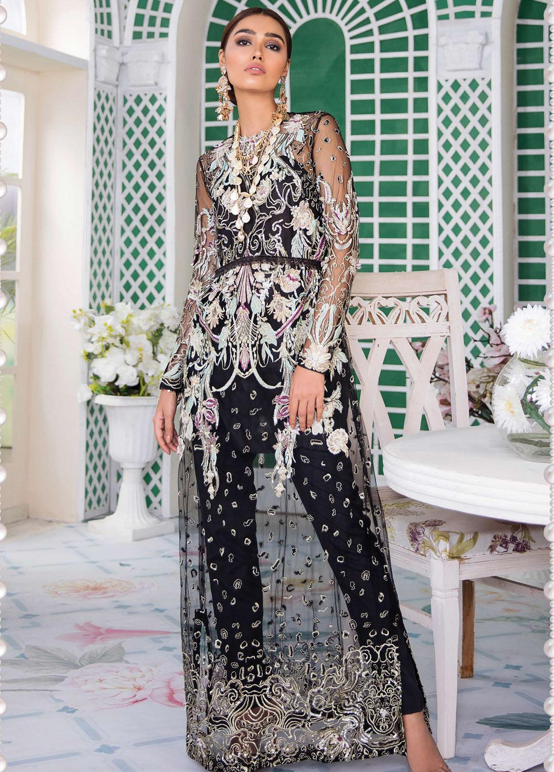 Freesia Suffuse by Sana Yasir Embroidered Zari Net Unstitched 3 Piece Suit FRS19E LAYLA - Eid Collection