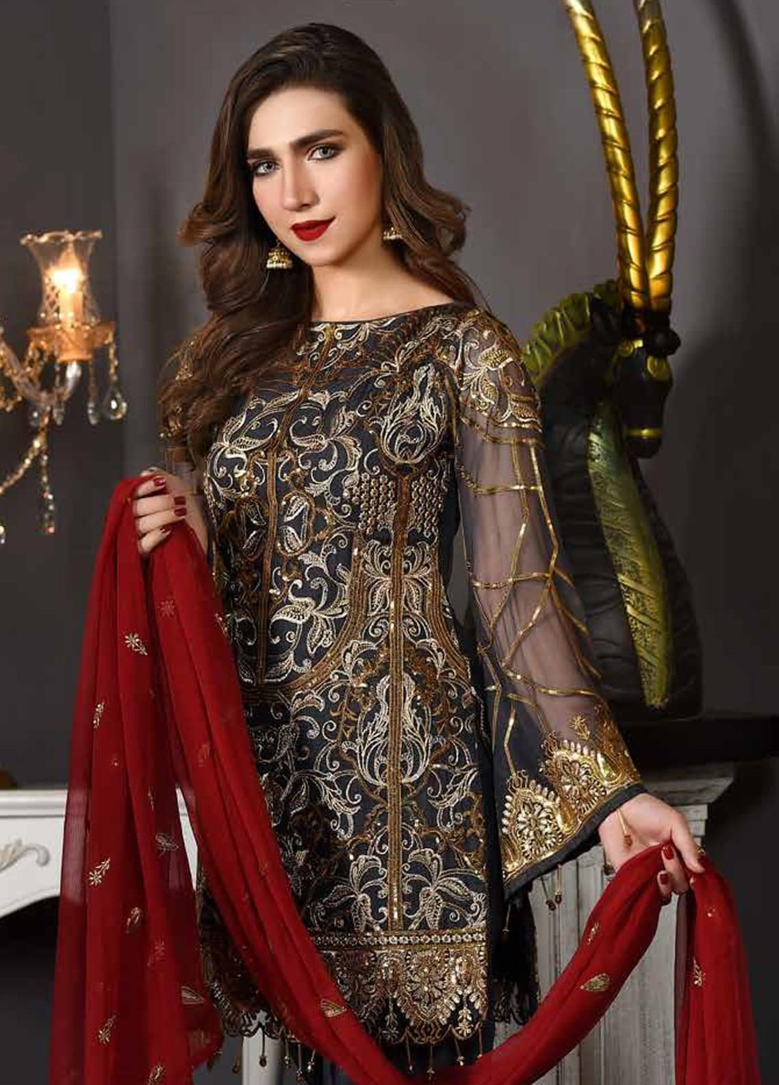 Freesia by Maryum N Maria Embroidered Chiffon Unstitched 3 Piece Suit FMM19EC 807 URBAN COUTURE - Luxury Collection