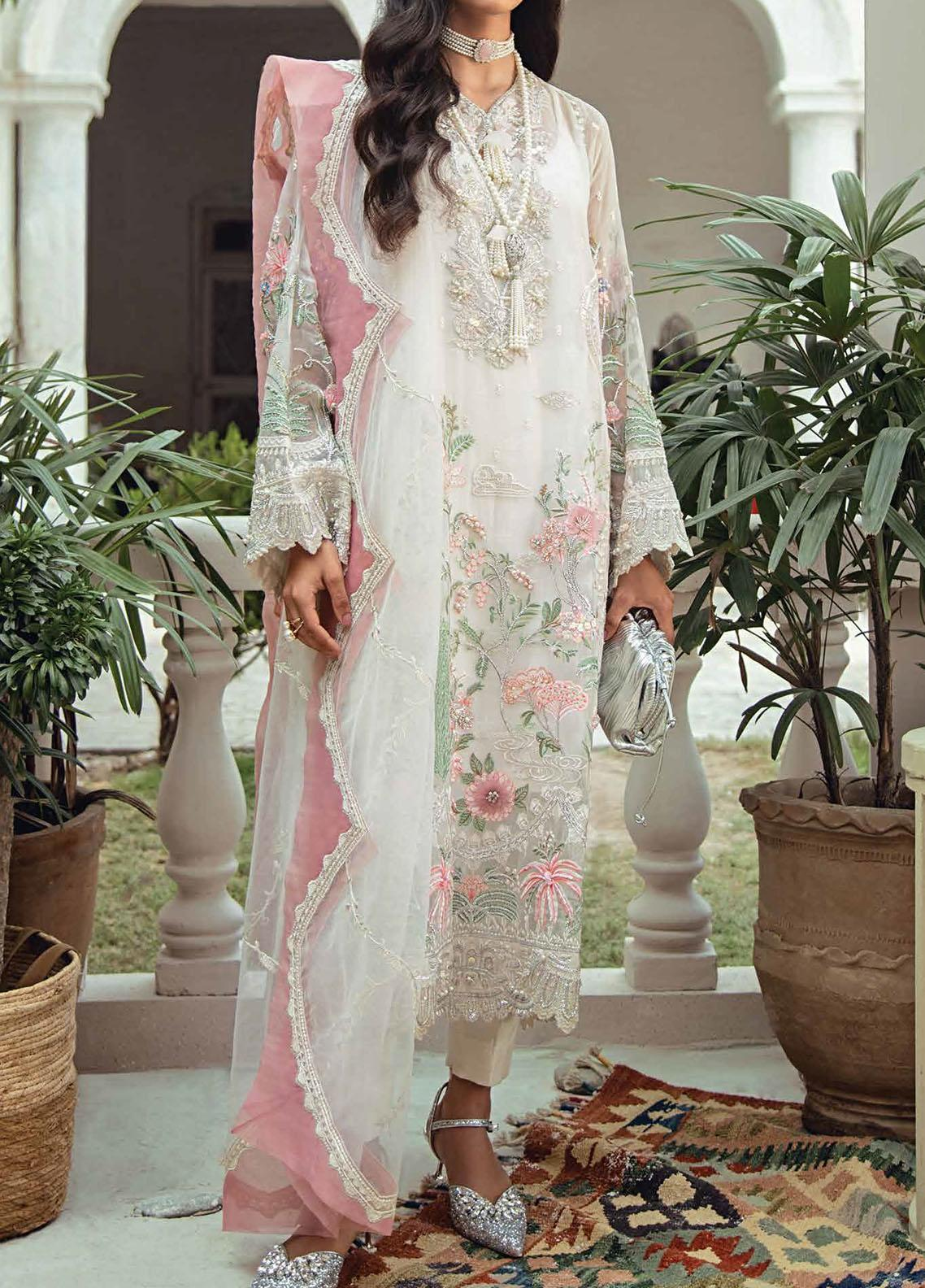 Freesia Suffuse by Sana Yasir Embroidered Organza Unstitched 3 Piece Suit FRS20L Lillian - Luxury Collection