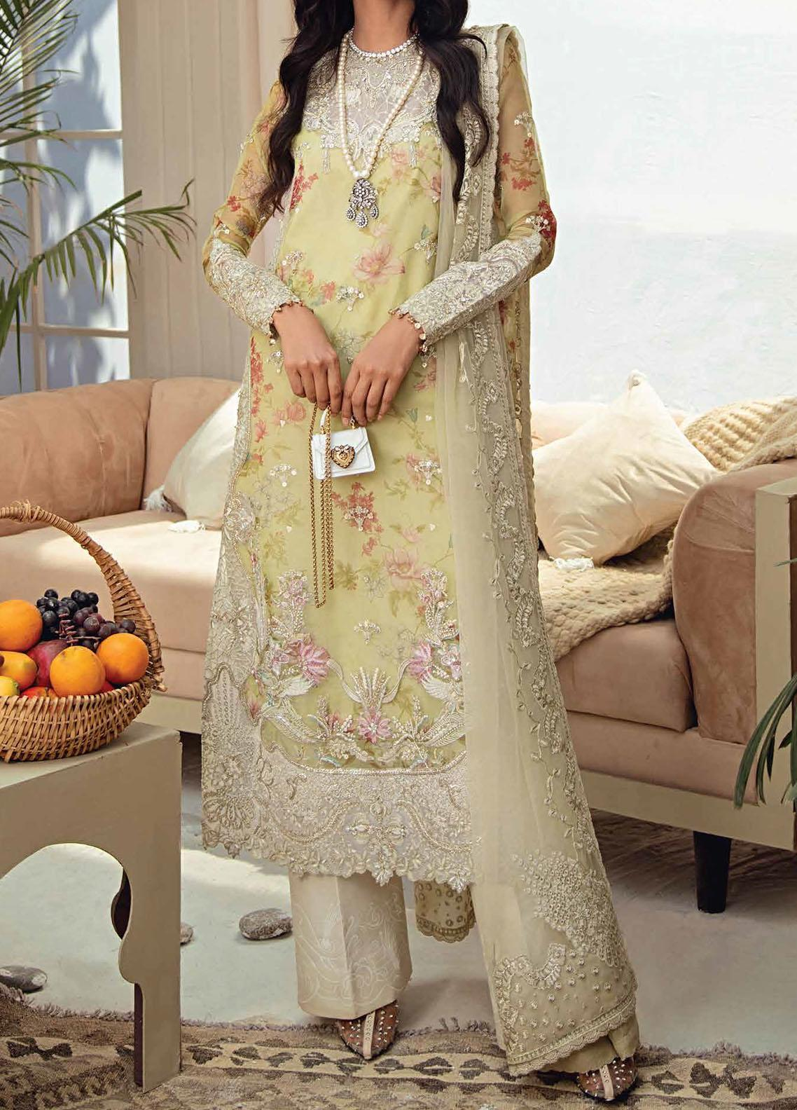 Freesia Suffuse by Sana Yasir Embroidered Organza Unstitched 3 Piece Suit FRS20L Meadows - Luxury Collection