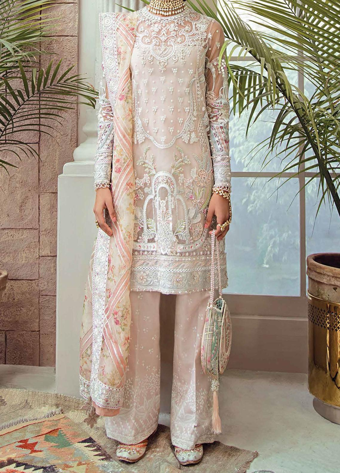Freesia Suffuse by Sana Yasir Embroidered Net Unstitched 3 Piece Suit FRS20L Roseate - Luxury Collection