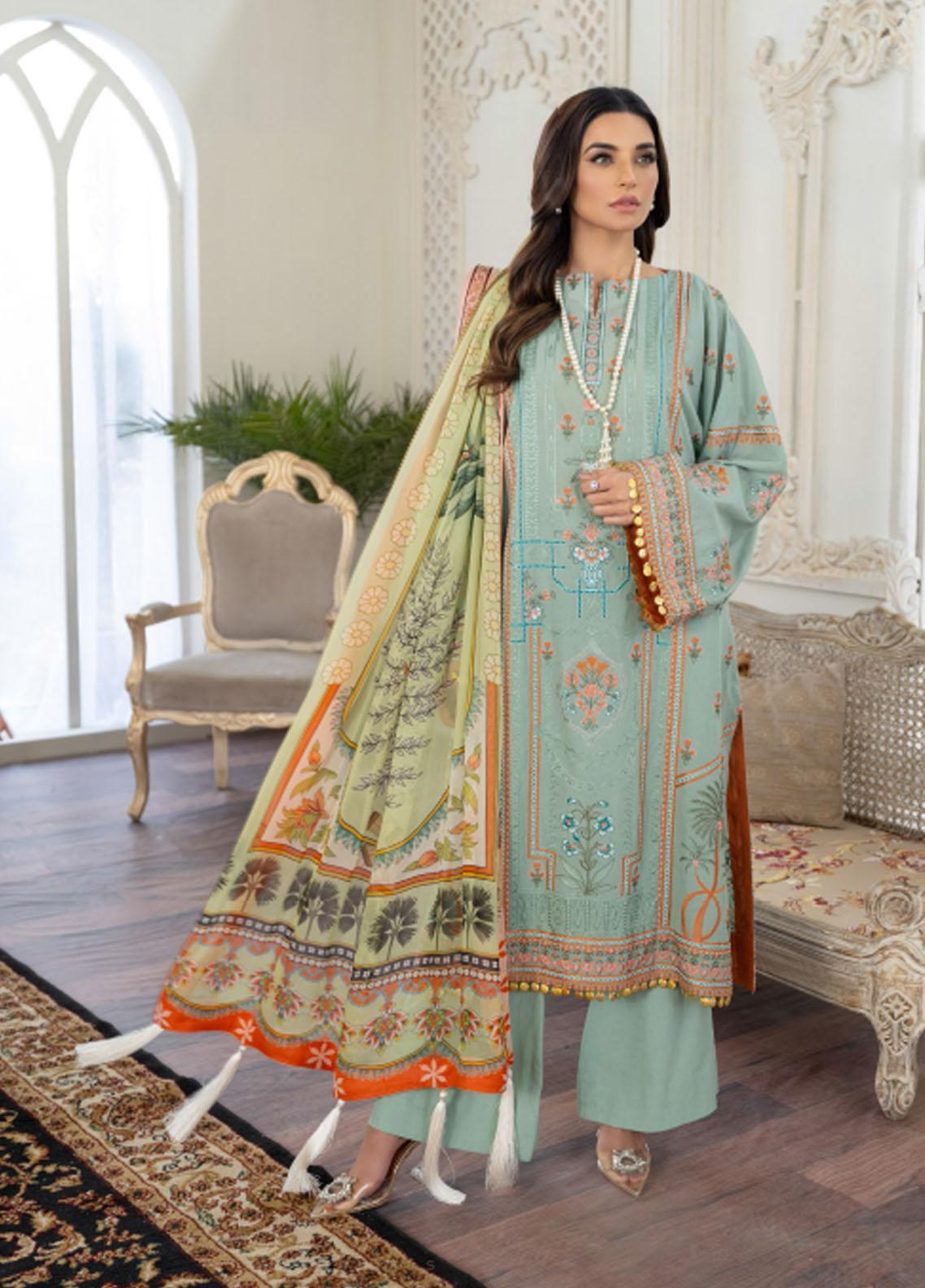 Freesia by Maryum N Maria Embroidered Lawn Suits Unstitched 3 Piece FMM21L 03 Blue Migile - Luxury Collection