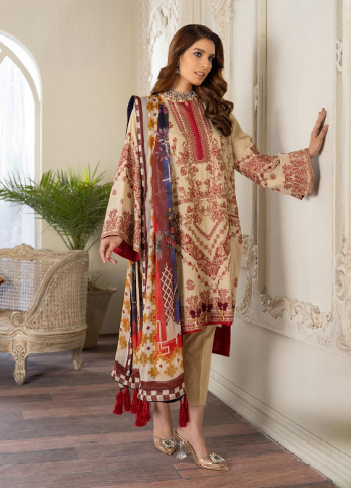 Freesia by Maryum N Maria Embroidered Lawn Suits Unstitched 3 Piece FMM21L 06 Pride Of Light - Luxury Collection