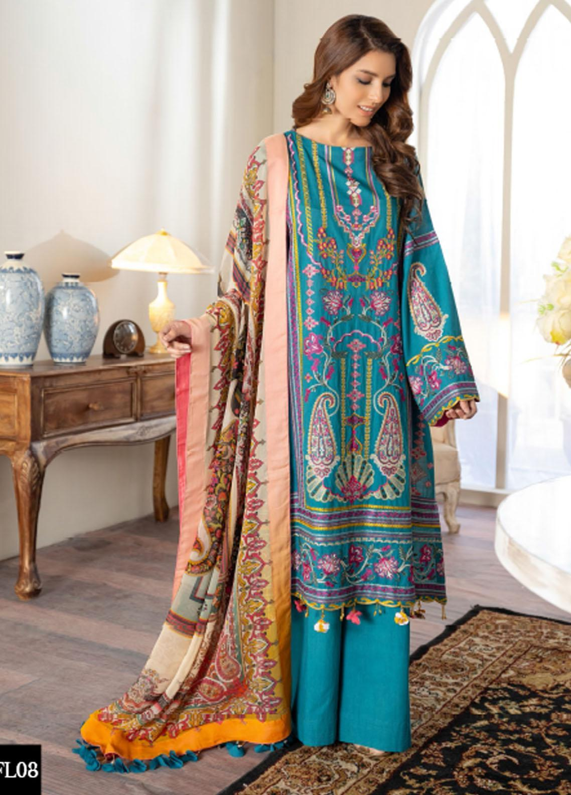 Freesia by Maryum N Maria Embroidered Lawn Suits Unstitched 3 Piece FMM21L 08 Sea Migial - Luxury Collection