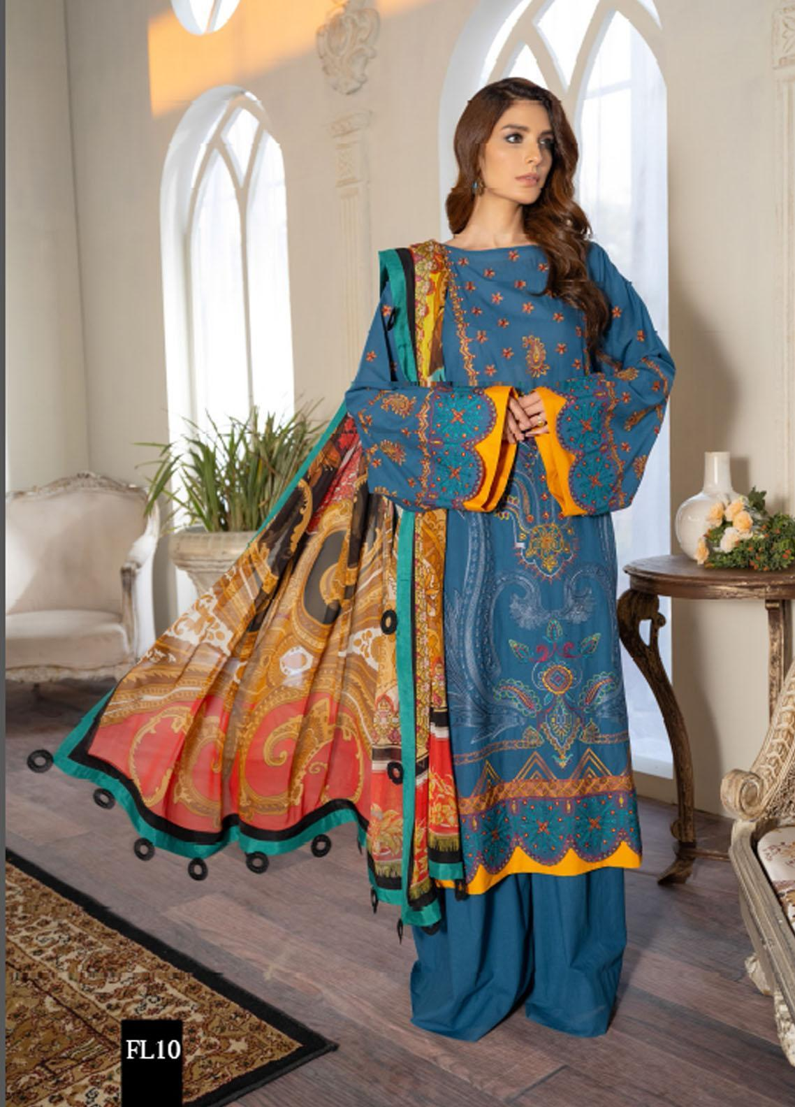 Freesia by Maryum N Maria Embroidered Lawn Suits Unstitched 3 Piece FMM21L 10 Dailhype - Luxury Collection
