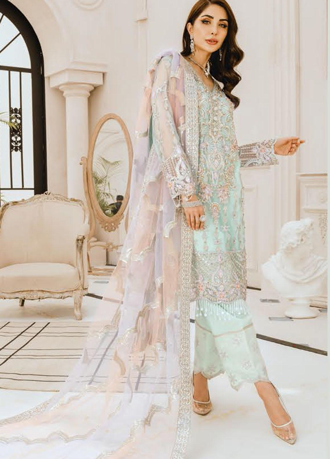 Freesia by Maryum N Maria Embroidered Chiffon Unstitched 3 Piece Suit FMM20PC 03 Sky Romance - Premium Collection