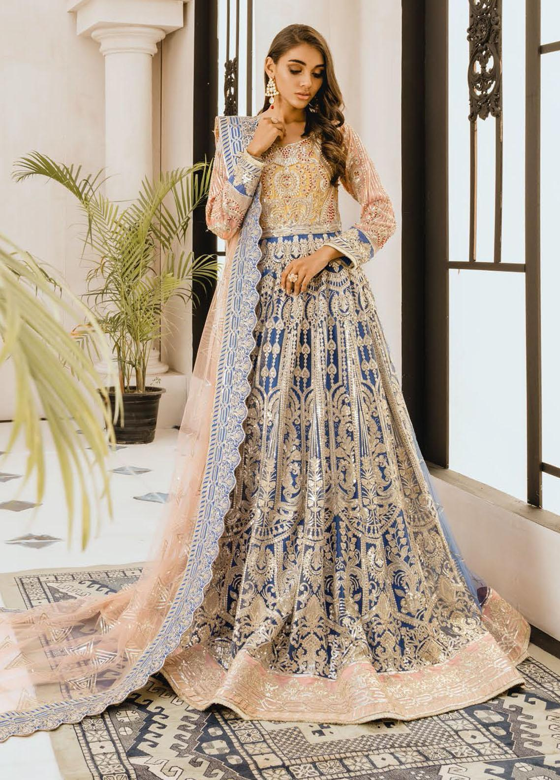 Freesia by Maryum N Maria Embroidered Net Unstitched 3 Piece Suit FMM20PC 06 Yellow Dayl - Premium Collection