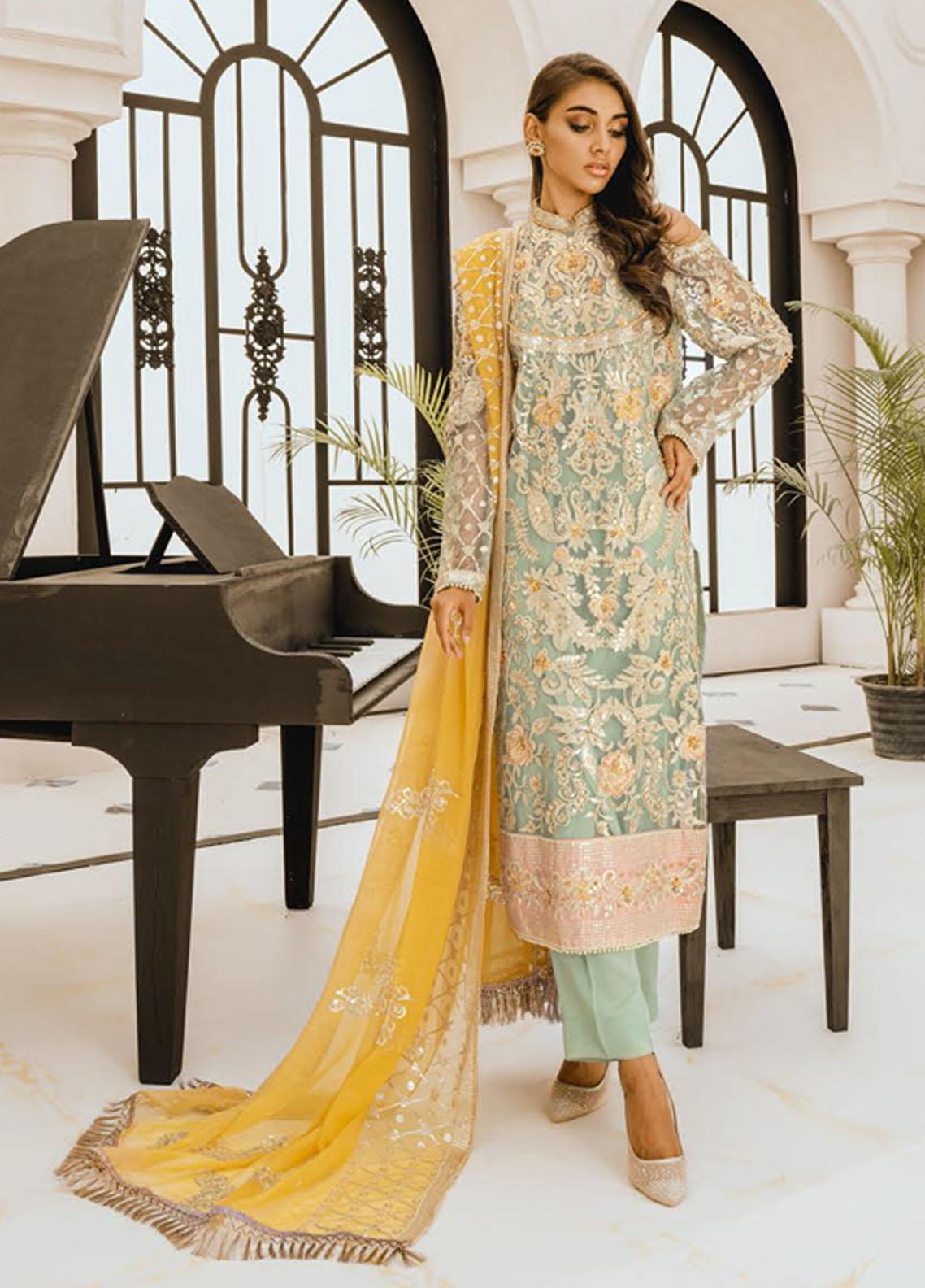 Freesia by Maryum N Maria Embroidered Net Unstitched 3 Piece Suit FMM20PC 10 Light Water - Premium Collection