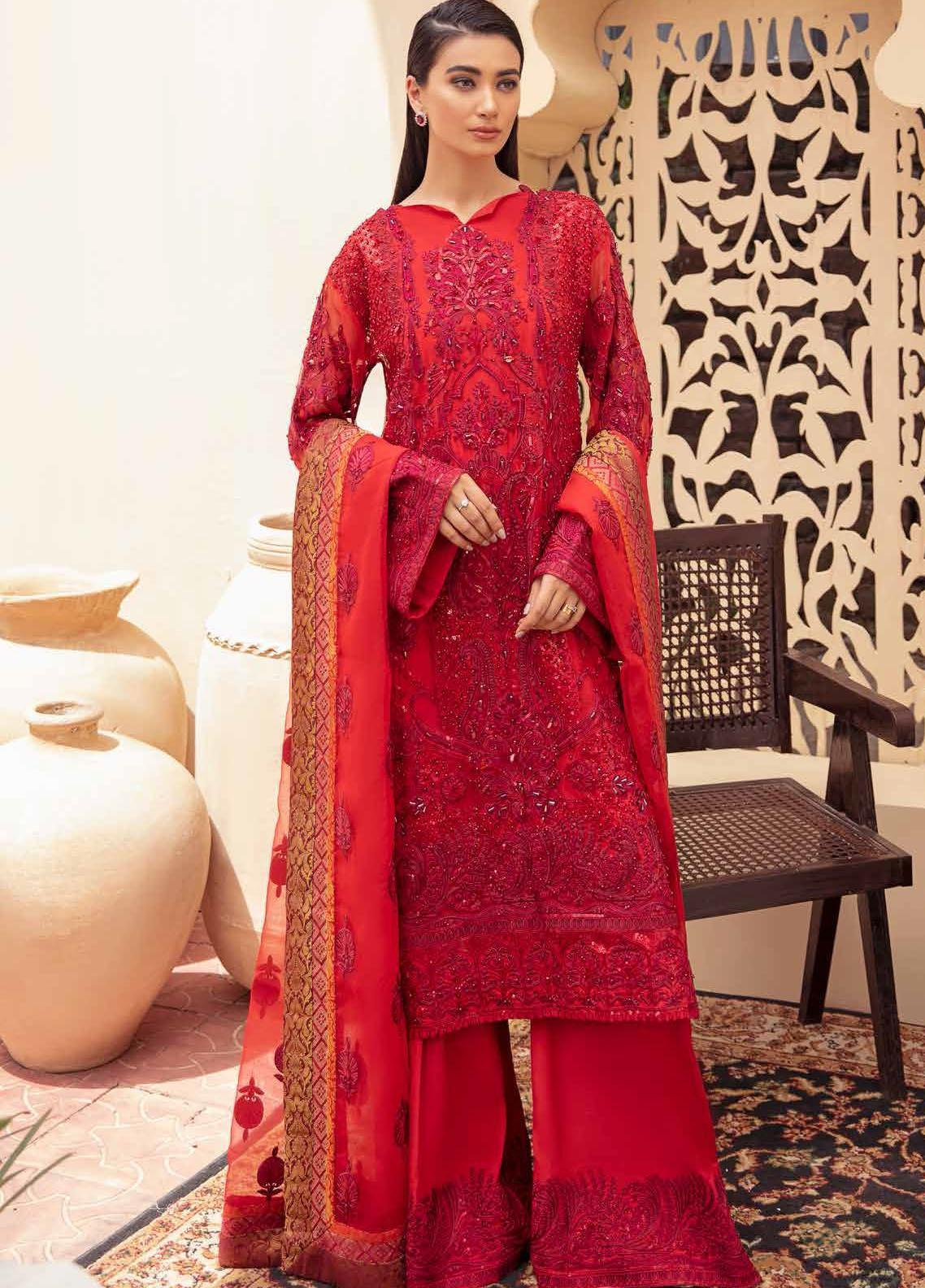 Freesia By Maryum N Maria Embroidered Organza Suits Unstitched 3 Piece MNM21FP 05 Rosy Evening - Premium Collection