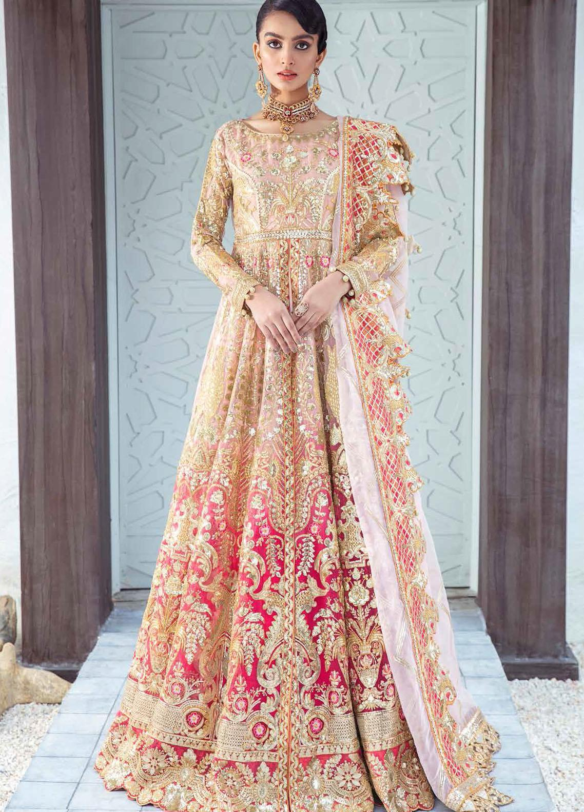Freesia by Maryum N Maria Embroidered Organza Suits Unstitched 3 Piece MNM21WD 04 Sangria Savor - Wedding Collection