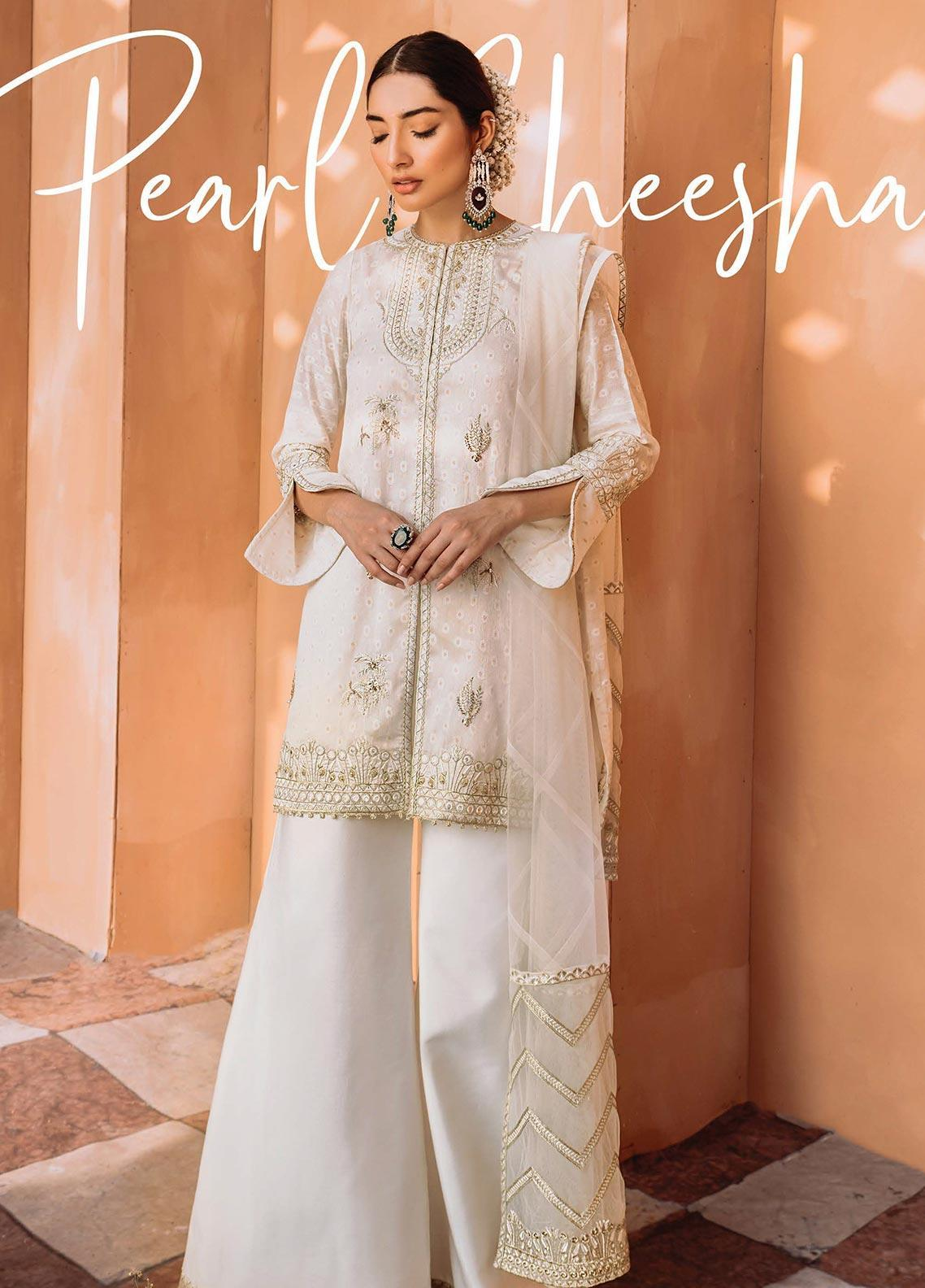 Freesia by Suffuse Embroidered Cotton Net Stitched 3 Piece Suit FRS19O PEARL SHEESHA