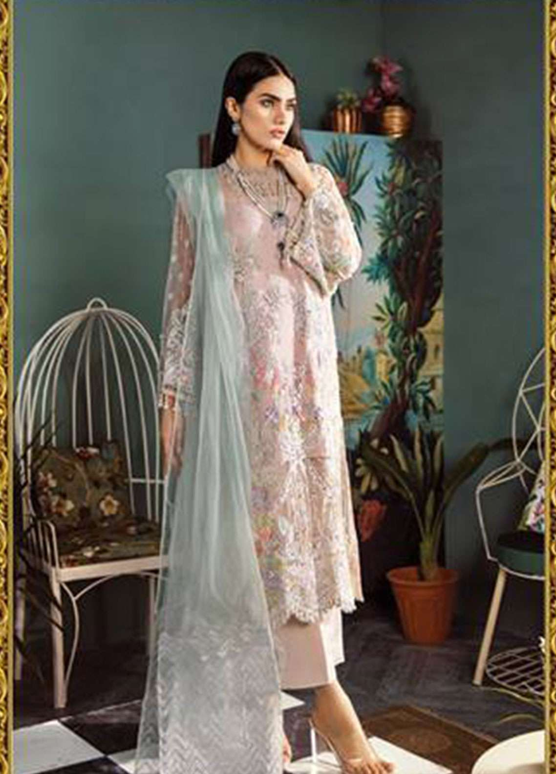 Freesia by Suffuse Embroidered Zari Net Unstitched 3 Piece Suit FRS19ZN 5 ROSE CARMINE - Luxury Collection