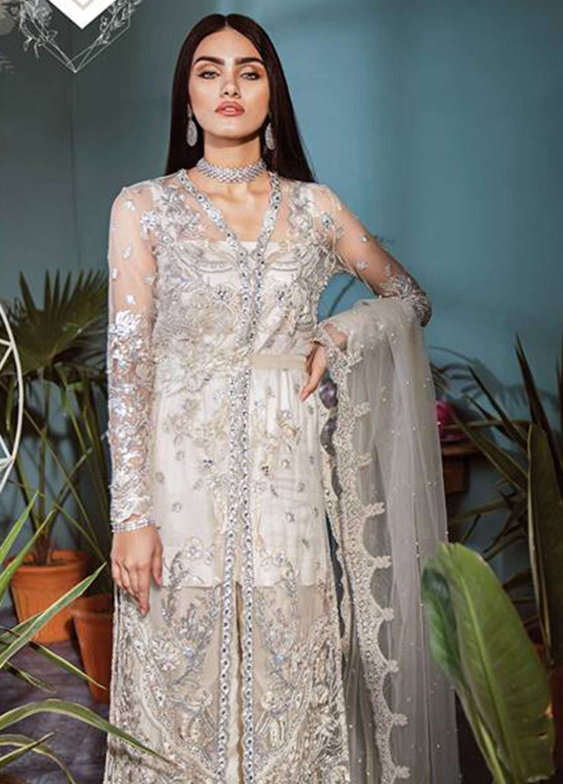 Freesia by Suffuse Embroidered Zari Net Unstitched 3 Piece Suit FRS19ZN 7 SERENE WHITE - Luxury Collection