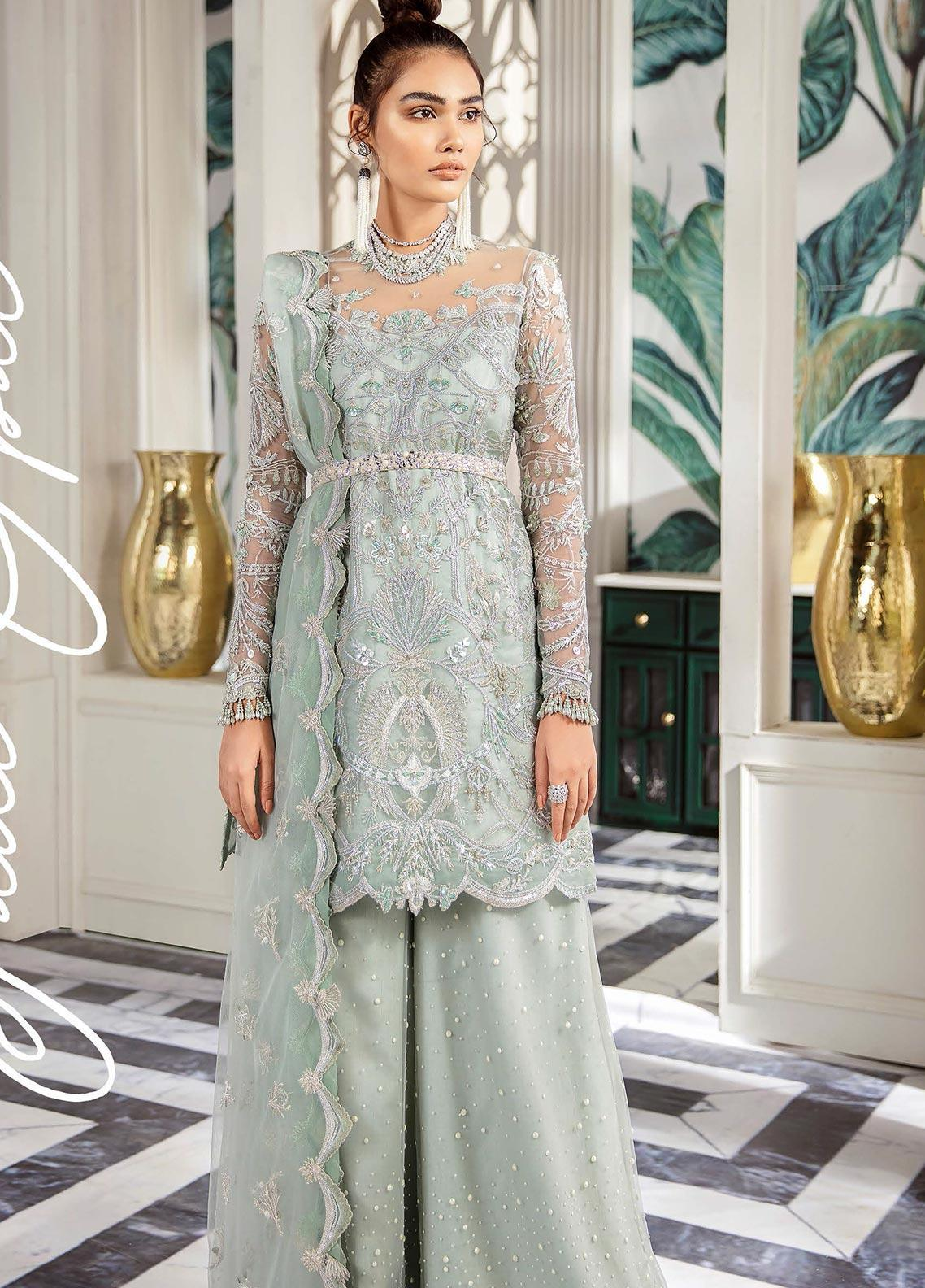 Freesia by Suffuse Embroidered Net Unstitched 3 Piece Suit FRS19W Jade Opal - Wedding Collection