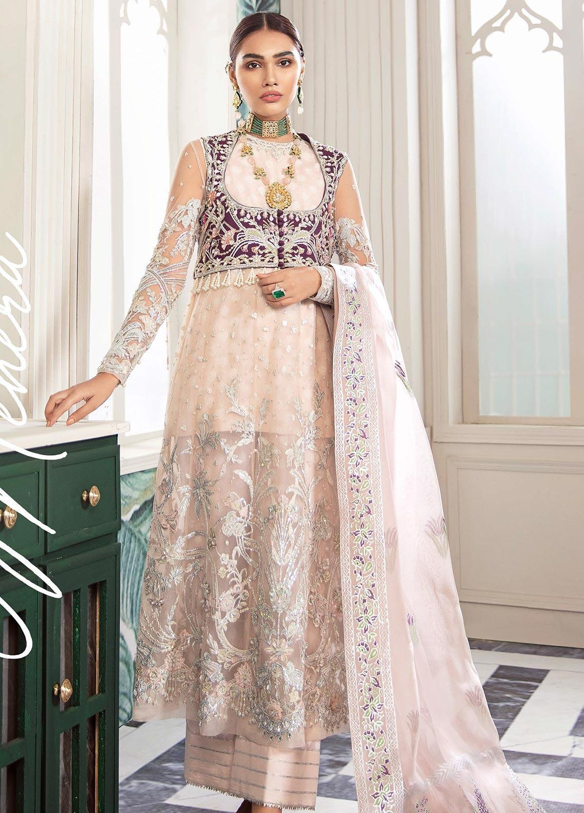 Freesia by Suffuse Embroidered Net Unstitched 3 Piece Suit FRS19W Mehera - Wedding Collection