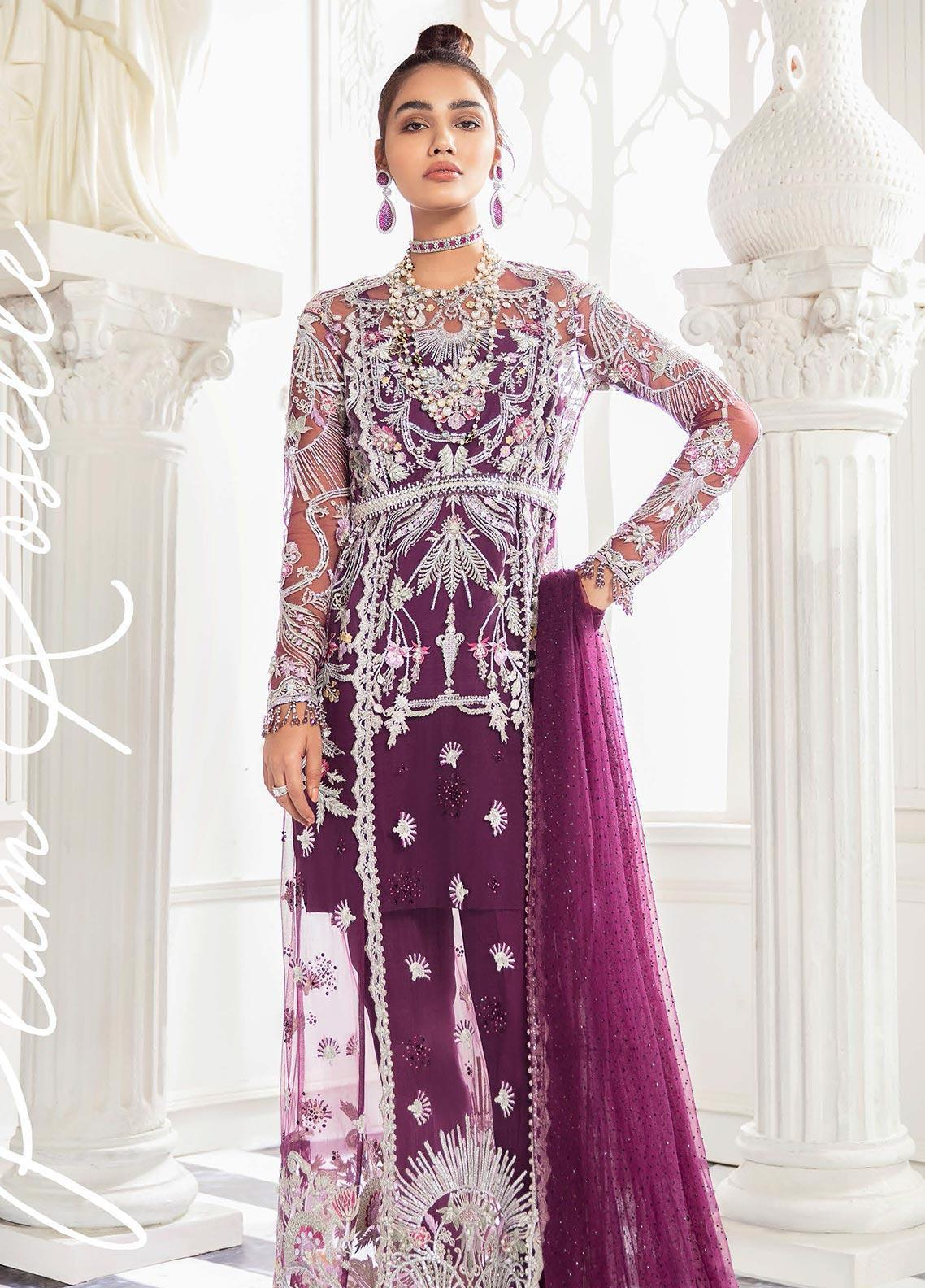 Freesia by Suffuse Embroidered Net Unstitched 3 Piece Suit FRS19W Plum Rosette - Wedding Collection